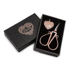 Rose Gold Embroidery Scissor and Heart Pendant Cutter Gift Set %7c Klasse B4722-RG