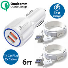 OEM Samsung Galaxy S6 S7 Note 4 5 Fast Charging Dual USB Car Charger + 2x Cable