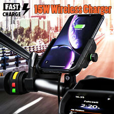 ☆ 15W Qi Wireless Charger Aluminium Motorcycle Mobile Phone Charge Holder Mount