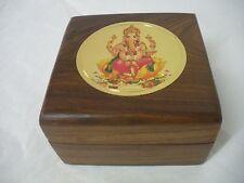 "Gold Ganesha Design Wood Box  - 4 ""x 4"""
