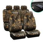 FH Group Seat Covers Full Set 47X23X1 In Fabric Bucket Forest Camo Car Accessory
