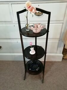 Antique Mahogany  free standing 3 tier circular cake display stand side table