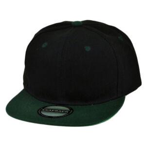 Black Green Snapback Blank Solid Plain Flat Bill Hat Cap 2 Tone Acrylic Adjustab