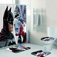 Funny Harley Quinn Love Batman Bathroom Rug Shower Curtain Toilet Lid Cover Mats