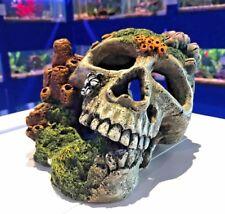 Large Skull & Corals Aquarium Fish Tank Ornament with Connected Air Stone  308