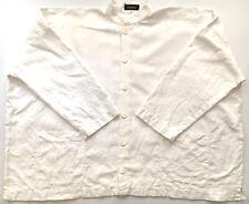ESKANDAR Shirt Jacket 100% Linen White Ivory Pockets Boxy Oversized Lagenlook 1