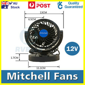 MITCHELL 12V 6 inch Car Clip Fan Automobile Vehicle Cooling Car Fan Powerful Qui