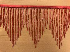 "By the yard 6"" RED Glass BUGLE Bead Beaded Fringe CHEVRON Lamp Costume Trim"