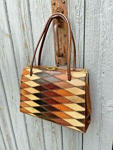 Vintage 1970s Patchwork Snake Skin Handbag Bag With Brown Leather & Suede Lining