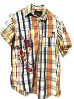 Red Snap Jeans Mens Western Flannel Pearl Snap Dress Shirt Blue Orange Size M