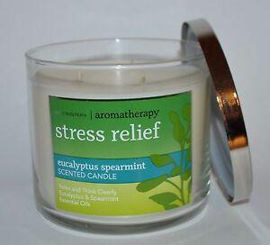 BATH & BODY WORKS STRESS RELIEF EUCALYPTUS SPEARMINT CANDLE 3 WICK 14.5 OZ LARGE