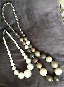 "JOB LOT 4 NECKLACES*Chunky Pearls 24""*Chunky wooden 34"" Beaded*Polka dot Fabric"