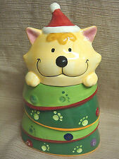 Adorable & Colorful SANTA KITTY CAT CHRISMAS TREE Glazed Ceramic TREATS JAR
