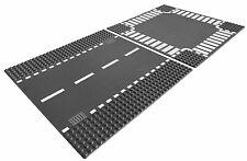 LEGO City Base Street Road Straight and Crossroad Platforms, Gray | 7280