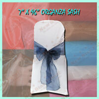 """100 Pieces Organza Sashes 7"""" X 96""""  Chair Ties Navy Blue"""