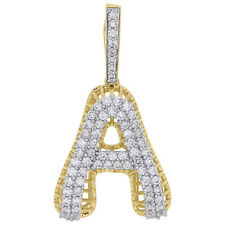 2 Row Pave Dome Charm 1.33 Ct. 10K Yellow Gold Diamond A Initial Letter Pendant