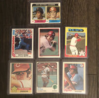 1970's & 80s Topps Pete Rose Cincinnati Reds Baseball Card Lot Of 7.