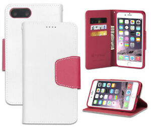 WHITE PINK WALLET CREDIT CARD SLOT ID CASE COVER STAND FOR APPLE iPHONE 7/8 PLUS