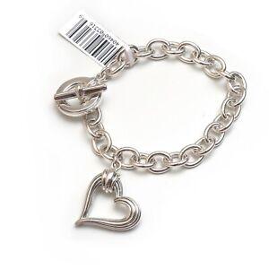 "New LAGOS Open Heart Charm Chain Link Bracelet in Sterling Silver 7.75"""
