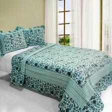 3 Pc Blue Impression abstract stripes 100% Cotton Queen Quilt Shams