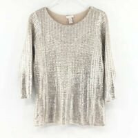 Chicos Size 1 Womens Metallic Round Neck Sweater Sz M Knit Pullover Beige Silver