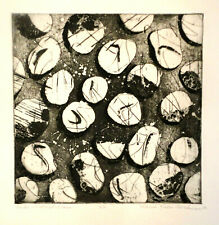 """Under Scratched Glass"" Etching Aquatint Artist Abstract Non-Representational"