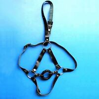 Black Leather O-Ring Open Mouth Gag with Full Face Harness-Ball Bondage Fetish