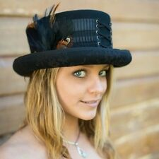 Womans London Love Steampunk Corset Lace Up Top Hat with Feather and Lace Accent