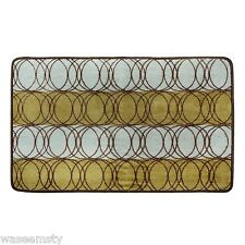 Orbit Circle Chocolate Olive Green Blue 2 pc. Bath Rug Contour Mat Set Decor