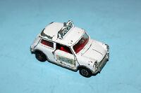 Dinky Toys White Mini Cooper S Police Car # 250 Black Plastic Wheels !!