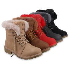 Damen Stiefeletten Worker Boots Warm Gefütterte Winter 825652 Schuhe