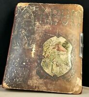 Vintage Antique Photo Art Album With Female Painting On Front