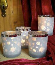 ✿ 4x Teelichtglas Weiß Schneeflocke Silber Leuchtgläser Windlicht Winter #386