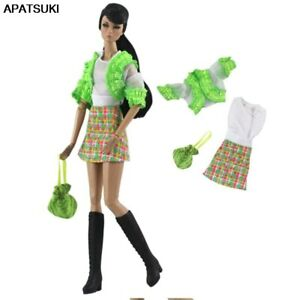 """Green Fashion Doll Clothes Set for 11.5"""" Doll Outfits Plaided Dress Coat Purse"""