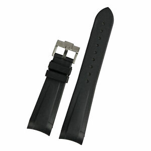 22mm Black Rubber Wrist Watch Band Strap With Silver Buckle For Tudor Black Bay