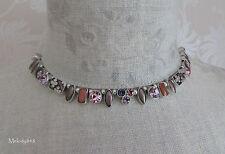 PILGRIM Necklace GEO Silver Pink Purple Swarovski Crystal Enamel BNWT RRP£50
