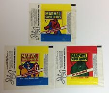 RARE! 1976 complete MARVEL SUPER HEROES Set Of 3 TOPPS WRAPPERS Zodiac Ad HULK