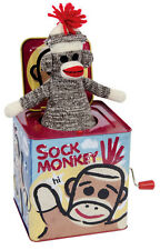 Sock Monkey Musical Jack In The Box Tin Toy NEW Schylling NEW CLASSIC