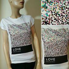 Public Envy Love Makes You Sparkle White Glitter Sequin T-Shirt Top Size S 8 10