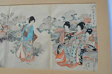 19C. JAPANESE TRIPTYCH WOODBLOCK PRINT WOMEN CELEBRATING CHRYSANTHEMUM FESTIVAL