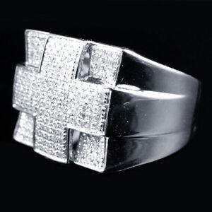 Men's 14K White Gold Finish VVS1 Diamond Engagement Ring Wedding Pinky Band