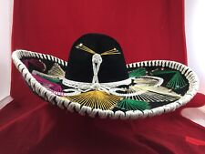 Vintage Pigalle Mexican Sombrero Black Velvet Western Charro Hat Cowboy •Mexico•