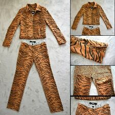 RARE Vintage VERSACE Jeans Couture Animal Print Trouser Jacket set,Size UK 8/10
