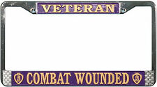 PURPLE HEART COMBAT WOUNDED VETERAN METAL LICENSE PLATE FRAME - MADE IN THE USA!