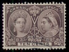 CANADA #57 10¢ brown violet, used w/light cancel, VF/XF, Scott $120.00
