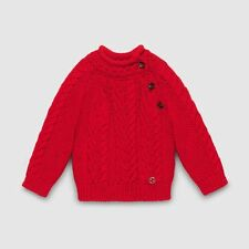 GUCCI BABY RED MERINO CABLE KNIT SWEATER 9-12 MONTHS
