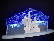 3D LED Arc Lumineux Verre acrylique Arches avec bois Neuschwanstein 47x22 cm