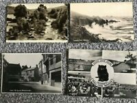 THE SQUARE WIVELISCOMBE, LANDS END, BRIXHAM, DARTMEET,  4 OLD  VINTAGE POSTCARDS
