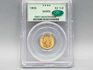 1905 $2.50 Gold Liberty PCGS MS65 OGH CAC Nice