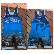 Team Michigan MyWay Blue Wrestling Singlet. Large.